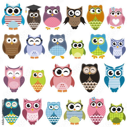Poster Uilen cartoon Set of cartoon owls with various emotions