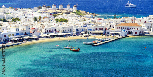 Photo  Mykonos island in Greece Cyclades