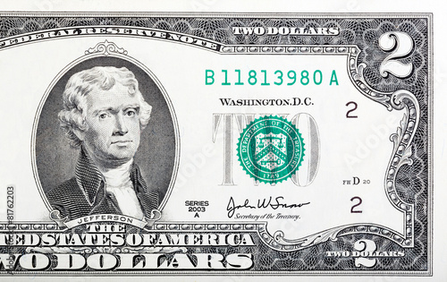 Tela  Two dollar bill issued in 2003 in US.