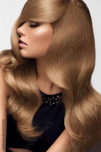 Fotografie, Obraz  Hair. Portrait of beautiful Blonde with Long Wavy Hair. High qua