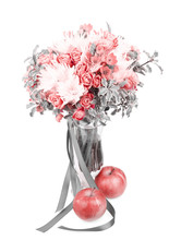 Drama Black And White Bouquet In A Vase With Red Apple Isolated