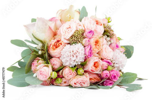 Canvas Print Beautiful bouquet of flowers isolated on white background