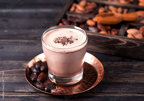 Foto op Canvas Chocolade Cocoa with chocolate and cocoa beans