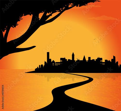Staande foto India silhouette di città sul fiume
