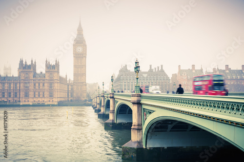 Fotografie, Tablou  Big Ben and westminster bridge