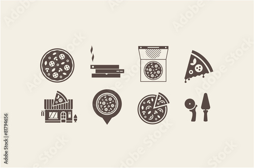 Fotografie, Obraz  pizza icons