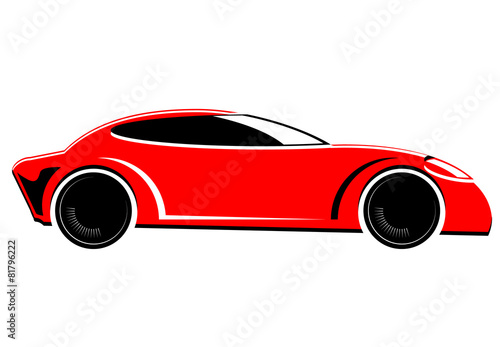 Staande foto Cartoon cars Red sports or race car vector image
