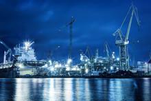Shipyard At Work, Ship Repair, Freight. Industrial