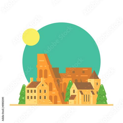 Photo  Flat design of Colloseum Italy with village