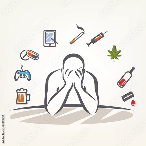 Fotografia  addict man and set of addiction symbols, outlined vector sketch