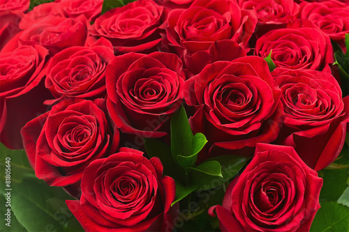 Colorful flower bouquet from red roses for use as background. #81805640