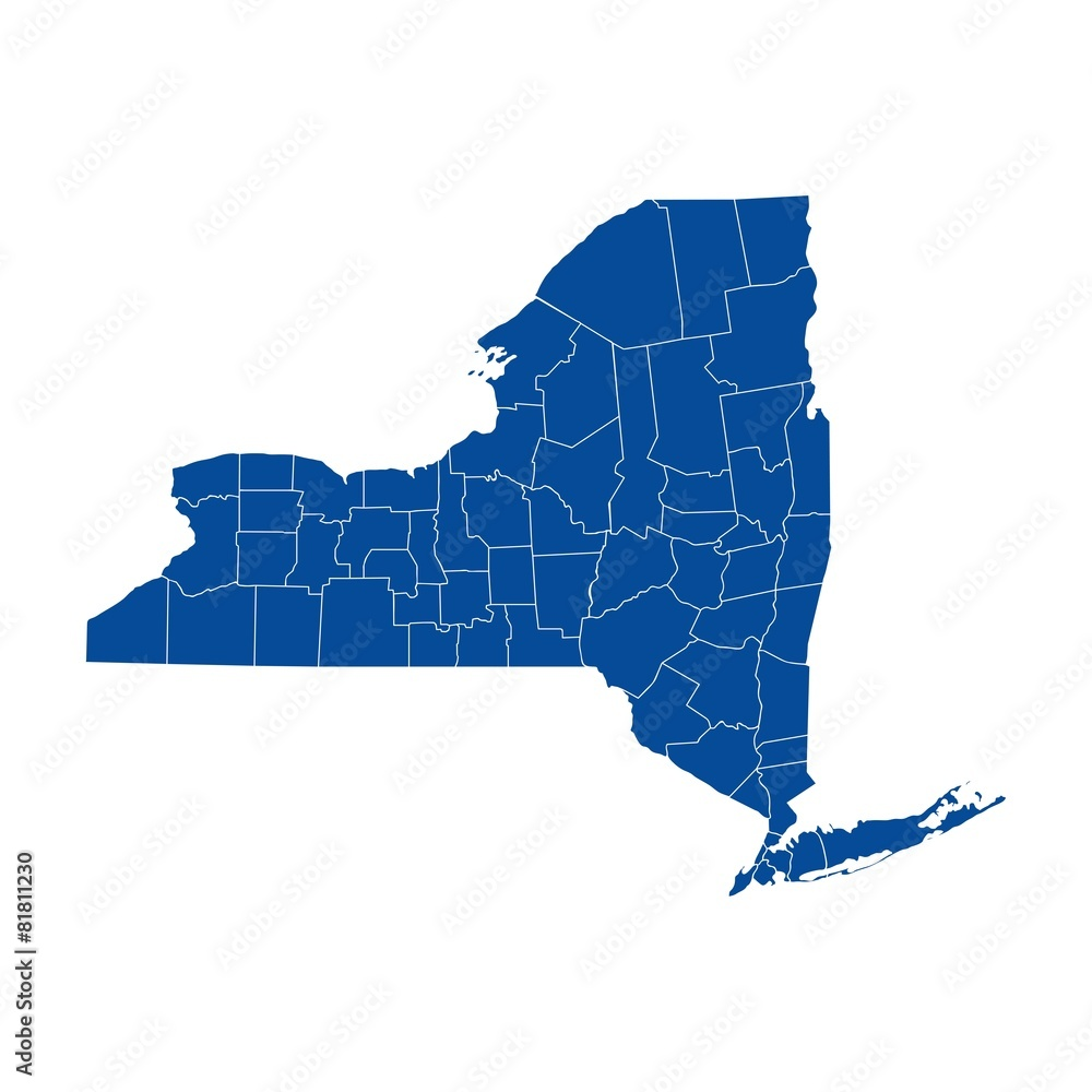 Fototapety, obrazy: New York state - county map