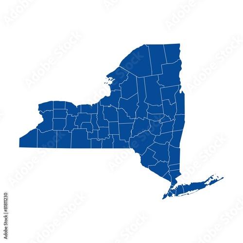 Fototapeta New York state - county map obraz