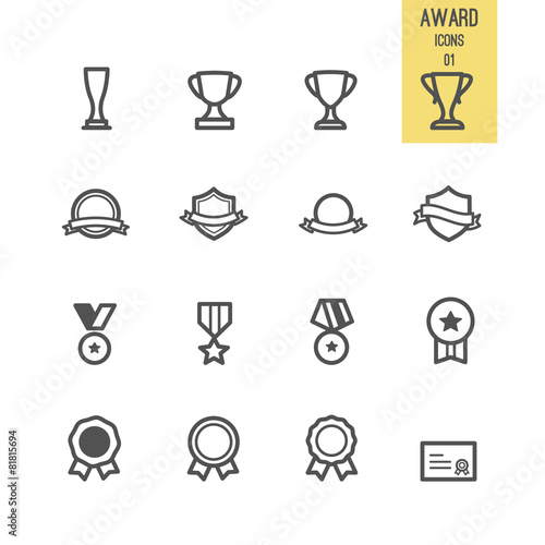 Fotografía  Set of award icons. Vector illustration.