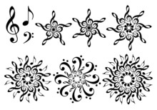 Abstract Music Flowers, Vector...