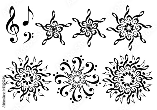 abstract music flowers, vector set Canvas Print