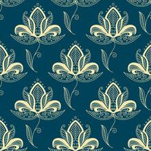 Oriental Paisley Beige Flowers Seamless Pattern