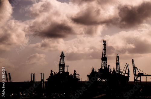 Oil Drilling Rig Silhouette - Buy this stock photo and