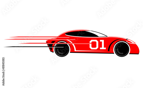 Staande foto Cartoon cars Speeding race car vector image