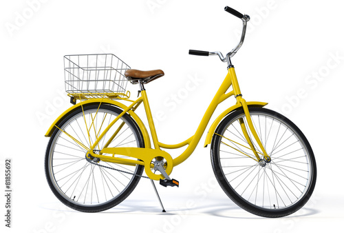 In de dag Fiets Yellow Vintage Style Bike Side View