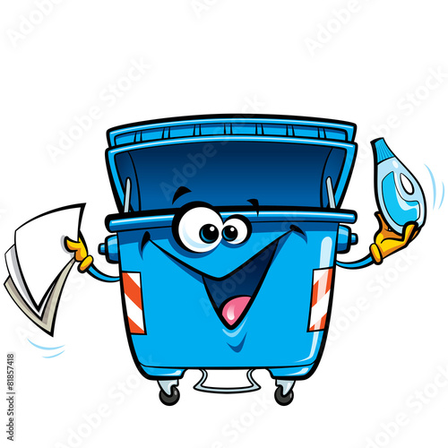 Happy face cartoon recycle trash bin anthropomorphic