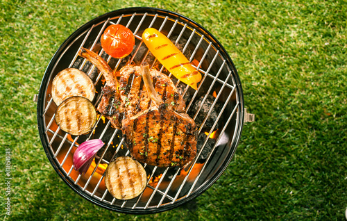 Aluminium Prints Grill / Barbecue Healthy lean pork loin with veggies on a BBQ