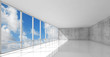 3d empty white open space interior with windows