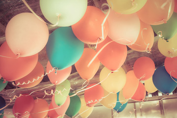 Colorful balloons floating ...