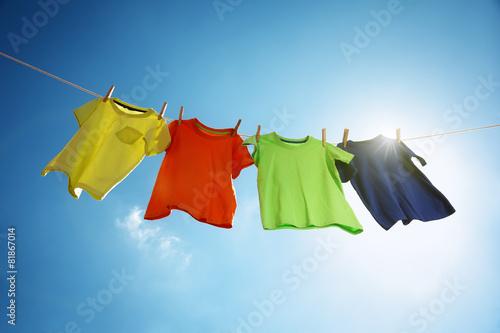 Fotografie, Obraz  Clothesline and laundry