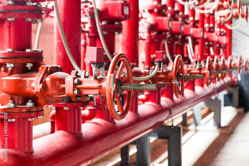 A row of red color fire fighting water supply pipeline system Canvas Print