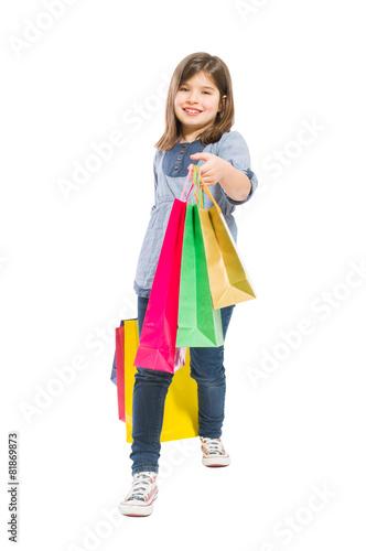 Garden Poster Fairytale World Young shopping girl walking