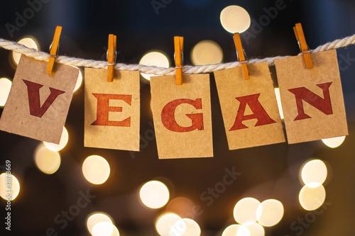 Fotografie, Obraz  Vegan Concept připnutý karty a Lights