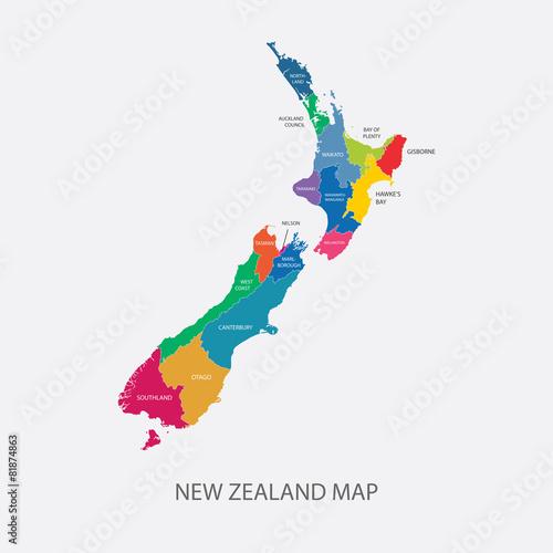 Photo New Zealand Map Color regions flat design illustration vector