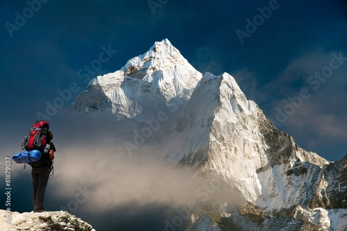 Wall Murals Nepal Evening view of Ama Dablam with tourist