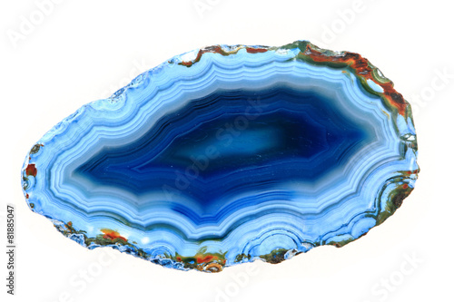 Photo blue agate isolated