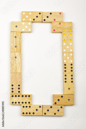 Alphabet letter O arranged from wood dominoes tiles isolated плакат