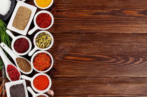 Canvas Prints Spices Various spices on wooden background