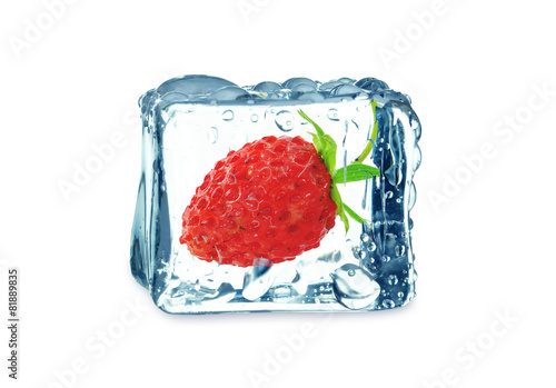 wild strawberry in the ice cube