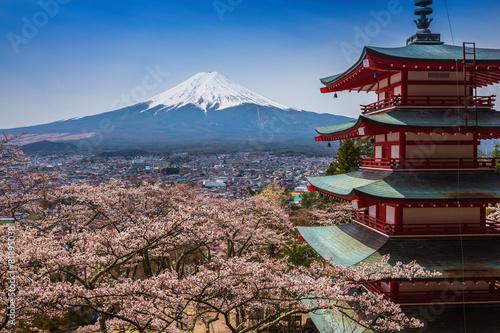 Fotografie, Obraz  Red pagoda s Mt. Fuji jako pozadí