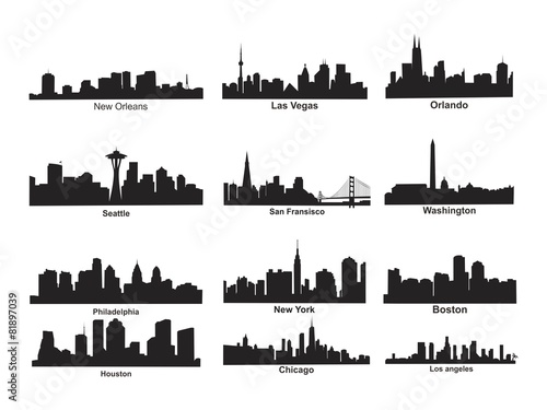 US City Skyline Silhouette Poster