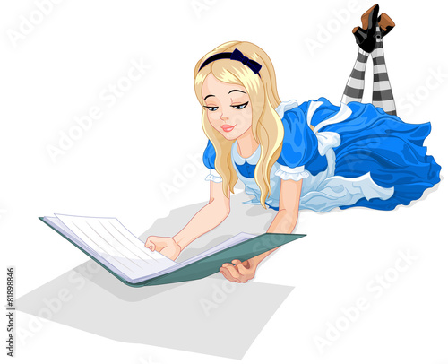Printed kitchen splashbacks Fairytale World Alice reading a book