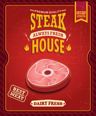 Panel Szklany Podświetlane Do steakhouse Vintage steak house poster design