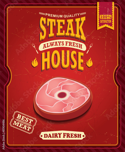 Vintage steak house poster design - 81904486