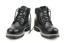 Stylish Men's Shoes Isolated On White