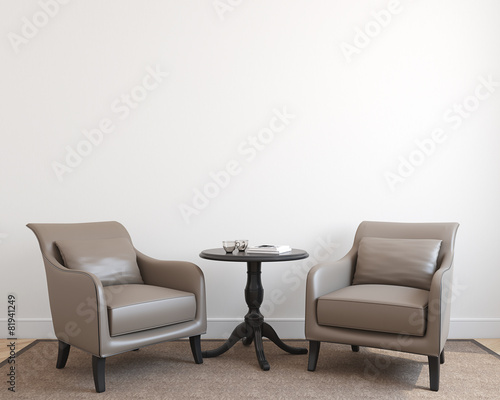 Fotografie, Obraz  Interior with two armchairs.