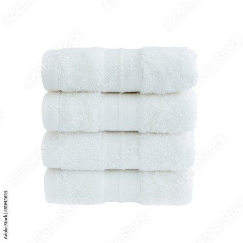 Fotografie, Obraz  Four white bath towels in stack isolated over white