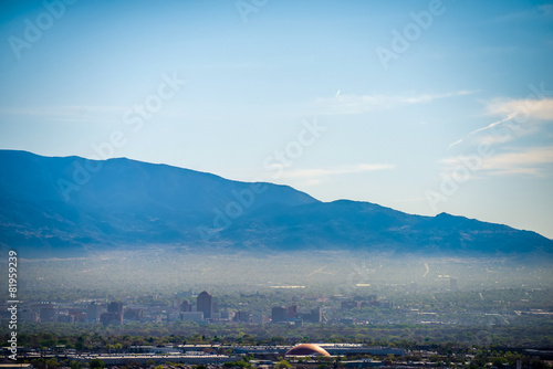 Albuquerque new mexico skyline in smog  with mountains Canvas Print