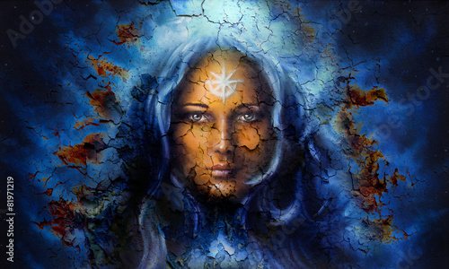 mystic face women, with structure crackle background effect Canvas Print