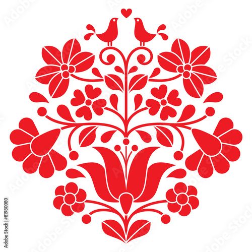 Kalocsai red embroidery - Hungarian floral folk pattern