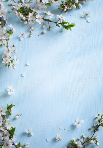 Foto  art Spring border background with white blossom